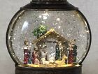 New Nativity Gold Lighted Snow Globe LANTERN Swirling Glitter Water Decor