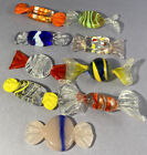 VTG MURANO ART GLASS COLORFUL DECORATION CANDIES 9 Pieces HAND MADE GLASS