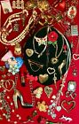 Vintage to Modern Designer Heart Jewelry Lot Crown Trifari Lucky Brand 1928 Avon