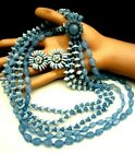 Rare Vintage Signed Miriam Haskell Shades of Blue Glass Necklace  Earrings Set