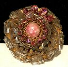 Rare Vintage 2 Signed Miriam Haskell Gilt Clear Pink Glass Brooch Pin A40