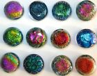 PREMIUM 12 Montana Art Glass Rainbow Multi Color Dichroic CIRCLE Pendant 25 mm