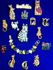 Vintage Modern Cat Kitten Kitty Brooch Pin Necklace Lot Giusti LIA Cathedralart