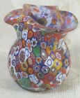 Vintage Early 1940s Hand Blown Italian Art Glass Millefiori Pitcher Cane Rare