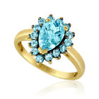 LeVian 14K Yellow Gold Blue Topaz Beautiful Pretty Classic Cocktail Halo Ring