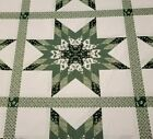 King Size Star Cheater Quilt Top Fabric 90x106 Green Black White