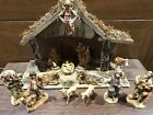 Vintage Fontanini 5  Depose Nativity Italy Fontanini Stable plus 13 Figurines
