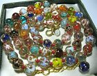 Rainbow Venetian Murano Glass Gold Foil Bead Vintage Style 25 Long NECKLACE