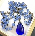 ART DECO BLUE GLASS DROP NECKLACE WITH GLASS BEADS 26 LONG