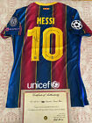 SIGNED AUTOGRAPHED MESSI BARCELONA JERSEY WITH COA AUTHENTICATION CERTIFICATE