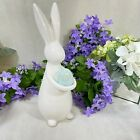 Easter Spring 12 White Ceramic Standing Bunny W Aqua New Modern Chic