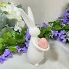 Easter Spring 9 White Ceramic Standing Bunny W Egg Pink New Modern Chic