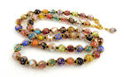 VTG Venetian Art Glass Beads Sommerso Necklace Multicolor Individually Knotted