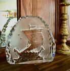 Large Mantorp Sweden Glass Viking Ship Figurine Crystal 75H x 8W Norway Ice