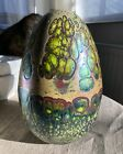 Jack Pine Art Studio Blown Glass Egg Signed 2011 Gold Green Maroon 8H x 5W