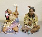 Native American Resin Detailed Figurines Male and Female Set Southwest Decor