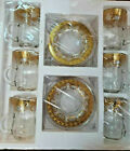 Turkish Tea Set of 12 Gold Plated Holder Glass Cups Floral Gift