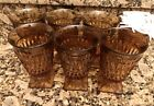 Vintage Indiana Amber Glass Footed Cube Drinking Tumblers Lot Of 7