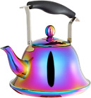 Whistling Tea Kettle with Infuser Stainless Steel Teapot Rainbow Teakettle for S