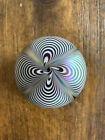 Stuart ABELMAN Art Glass Paperweight Signed 1989 Iridescent Pulled Feather
