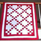 50 x40 Red White Nine Patch Pieced Lap Crib Wall Throw Irish Chain Quilt Top