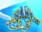 CAROLEE FOUR STRAND GLASS CABOCHONS FAUX FACETED BLUE TOPAZ LINK BRACELET CB0