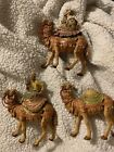 3 Vtg 1983 Roman Fontanini Camels 2 with kIngs Wise Men Italy Nativity Figures
