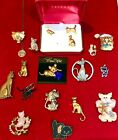 Vintage Modern Cat Kitten Kitty Brooch Pin Necklace Lot Trifari Birch Hill KW JJ