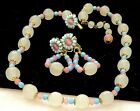 Rare Vintage Signed Miriam Haskell Gilt Blue Pink Glass Necklace Earrings Set A5