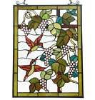 Floral Stained Glass Window Panel Suncatcher With Hummingbird Theme