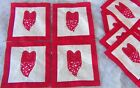 NEW 12 10x950 Red White STARS Hand Applique Embroidery Hearts Quilt Blocks