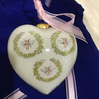 Glass Heart Ornaments Christmas  Baby Shower  Pink Bee Pattern lot of 12