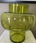 Mid Century Modern Scandinavian Large Art Glass Lime Green Vase Holmgard