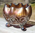 Vintage Northwood Amethyst Carnival Glass 3 Footed Beaded Cable Rose Bowl Vase