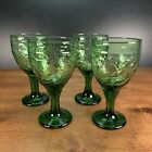 Emerald Green Cut To Clear Glass Wine Champagne Glasses 7 Set Of 4