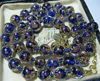 Cobalt Blue Venetian Murano Glass Gold Foil Bead Vintage Style 18 Long NECKLACE