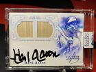 2015 Topps Dynasty, Hank Aaron, Autographed Dual Bat Relic Signed Card #1 5 HOF!