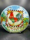 XL Peggy Karr Fused Glass 135 Tray Platter Farm Rooster Cows Bees Signed Exc