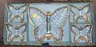 JEANNETTE GLASS CLEAR  GOLD TRIM 5 PIECES DIVIDED BUTTERFLY CANDY DISHES 1950s