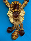 FRANCOISE MONTAGUE GRIPOIX AMBER GLASS GILDED FILIGREE CITRINE CRSTALS NECKLACE