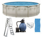 Brazil 15 x 52 Round Above Ground Swimming Pool Premium Package