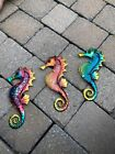 3PCS Metal  Glass Seahorse Statue Wall Decor Hanging Sculpture For Patio Porch
