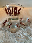 Vintage Wheaton Large Glass Salad Bowl  4 Small Bowls Red Letters Rare