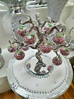Stunning Crystal Rose Pink Glass Apple Tree 12 Crystal Clear Crushed Diamond
