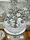 Stunning Crystal Silver Glass Apple Tree 12 Crystal Clear Crushed Diamond