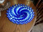 glass ruffled bowl large swirled exc cond beautifulheavy ar glass