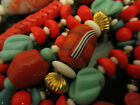 Vintage Mid Century Modern Murano Glass Turquoise  Coral Unusual Bead Necklace