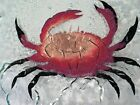 115 JONES GLASSWORKS fused glass CRAB COPPER INFUSED PLATE PLATTER mint