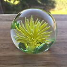 Yellow Sea Urchin Type Paperweight Chinese Art Glass 274g 61cm Wide