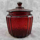 RED AMBERINA GLASS COOKIE JAR Open Rose Mayfair Floral Design BISCUIT CANISTER